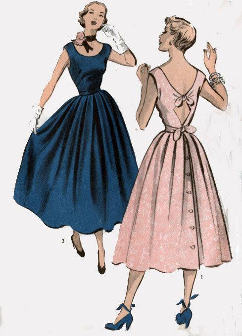 Vintage 40s Advance 5497 Swing Era Dress W Low Scooped