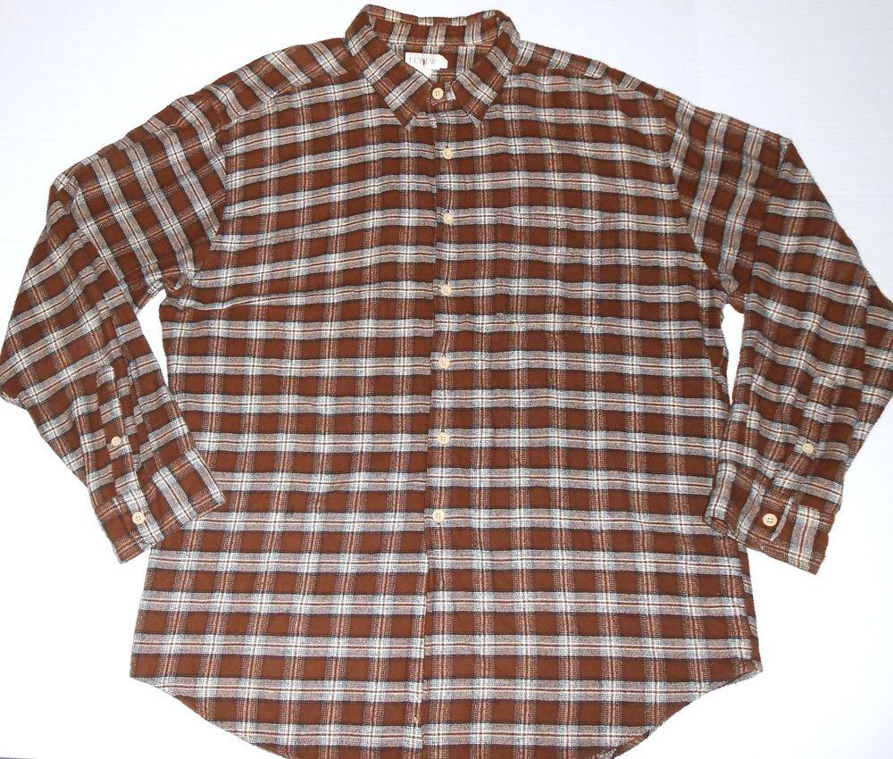 Flannel shirt season  J CREW Menus Plaid Brown Flannel Shirt XL EXTRA LARGE Long Sleeve
