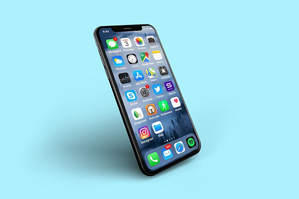 Angled side view of an iphone xs mockup generator mockup