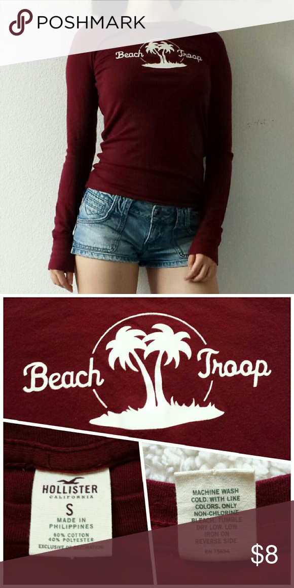 Hollister burgundy surfer top Essential long sleeve top from Hollister for all the beach lovers out there. Comfy and pro-layering. Barely worn, flawless condition. Hollister Tops