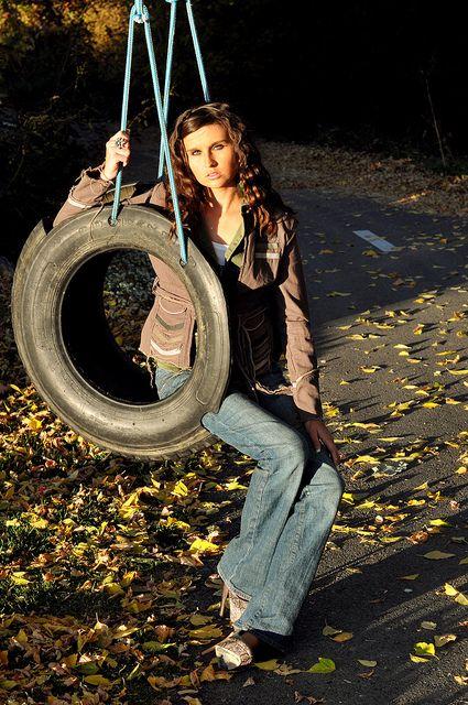 Beka swings in tire swing by trail #tireswing
