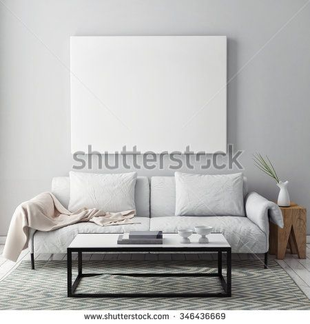 Mock Up Blank Poster On The Wall Of Livingroom Render