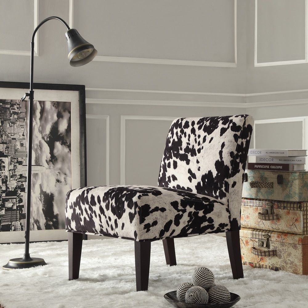 Bedrooms  Black and White Faux Cow Hide Fabric Accent Chair by INSPIRE Q