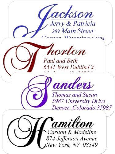 90 Elegant Return Address Labels - Your choice of font color ...