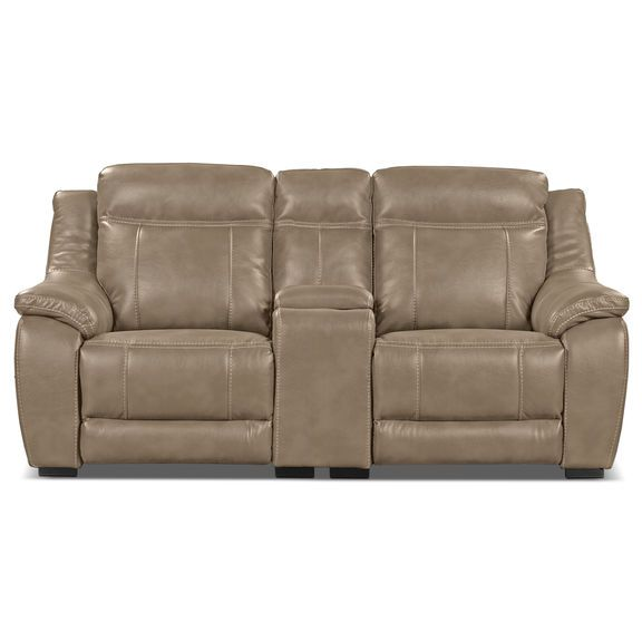 Novo Leather Look Fabric Power Reclining Loveseat Taupe The Brick Love Seat Power Reclining Loveseat Power Recliners