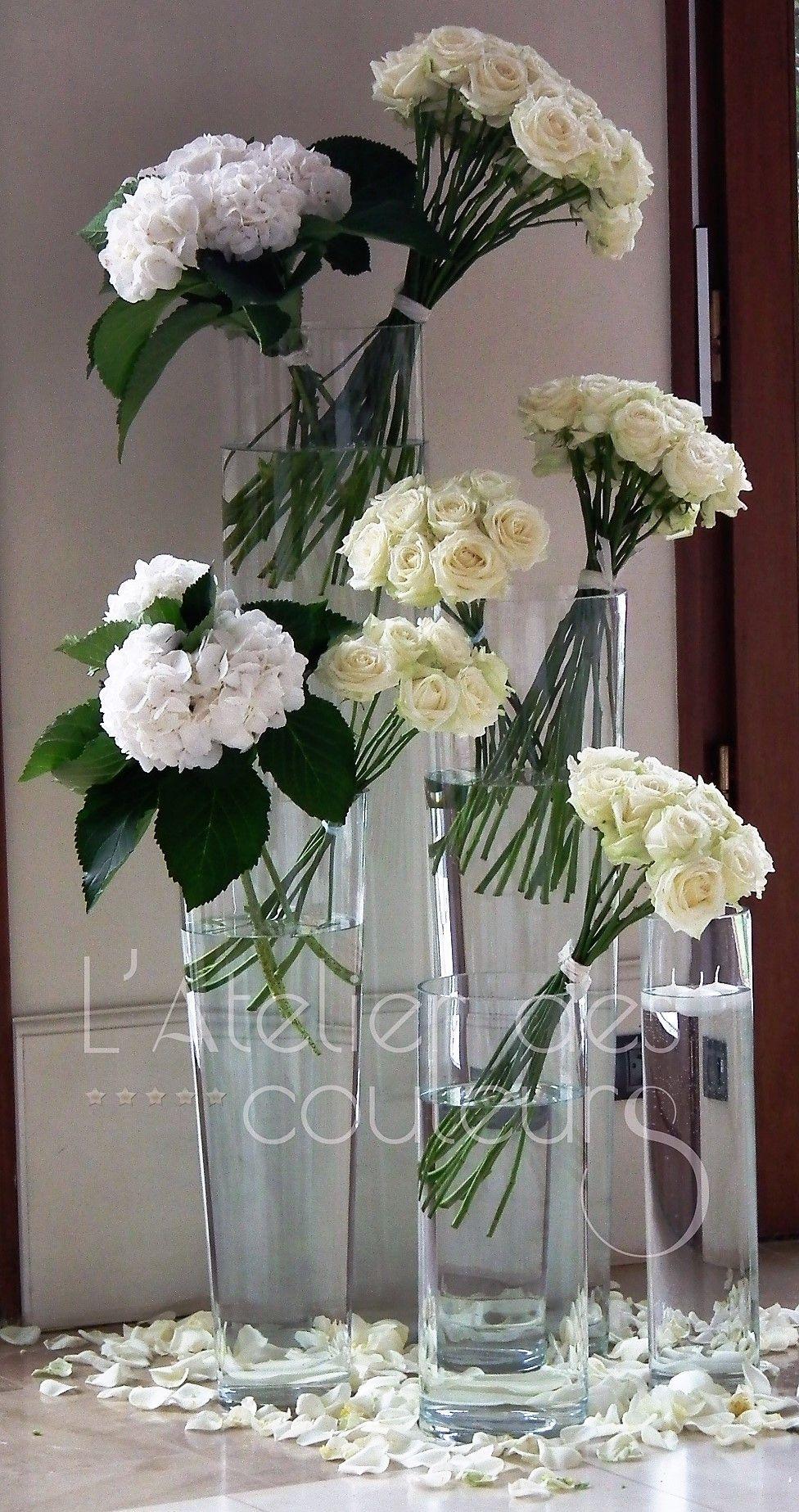 Modern White Rose Arrangement Wedding Flower Decoration Tall Glass Vase Wedding Flower Decorations Rose Arrangements Tall Glass Vases