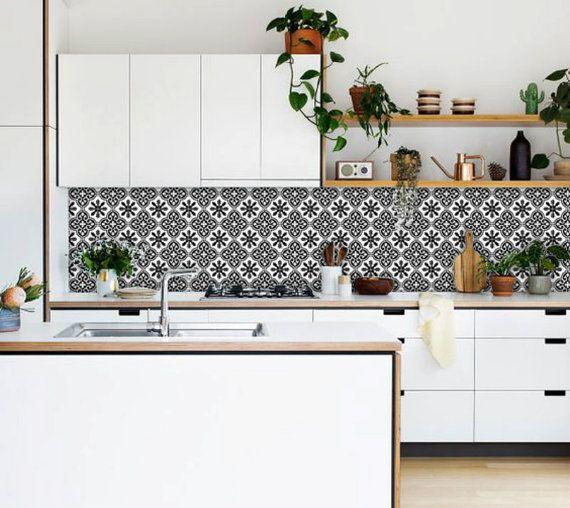 Tile Decals - Tiles for Kitchen/Bathroom Back splash - Floor decals - Floc Vinyl Tile Sticker Pack color Black