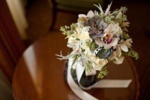 Bride's Succulent Wedding Bouquet