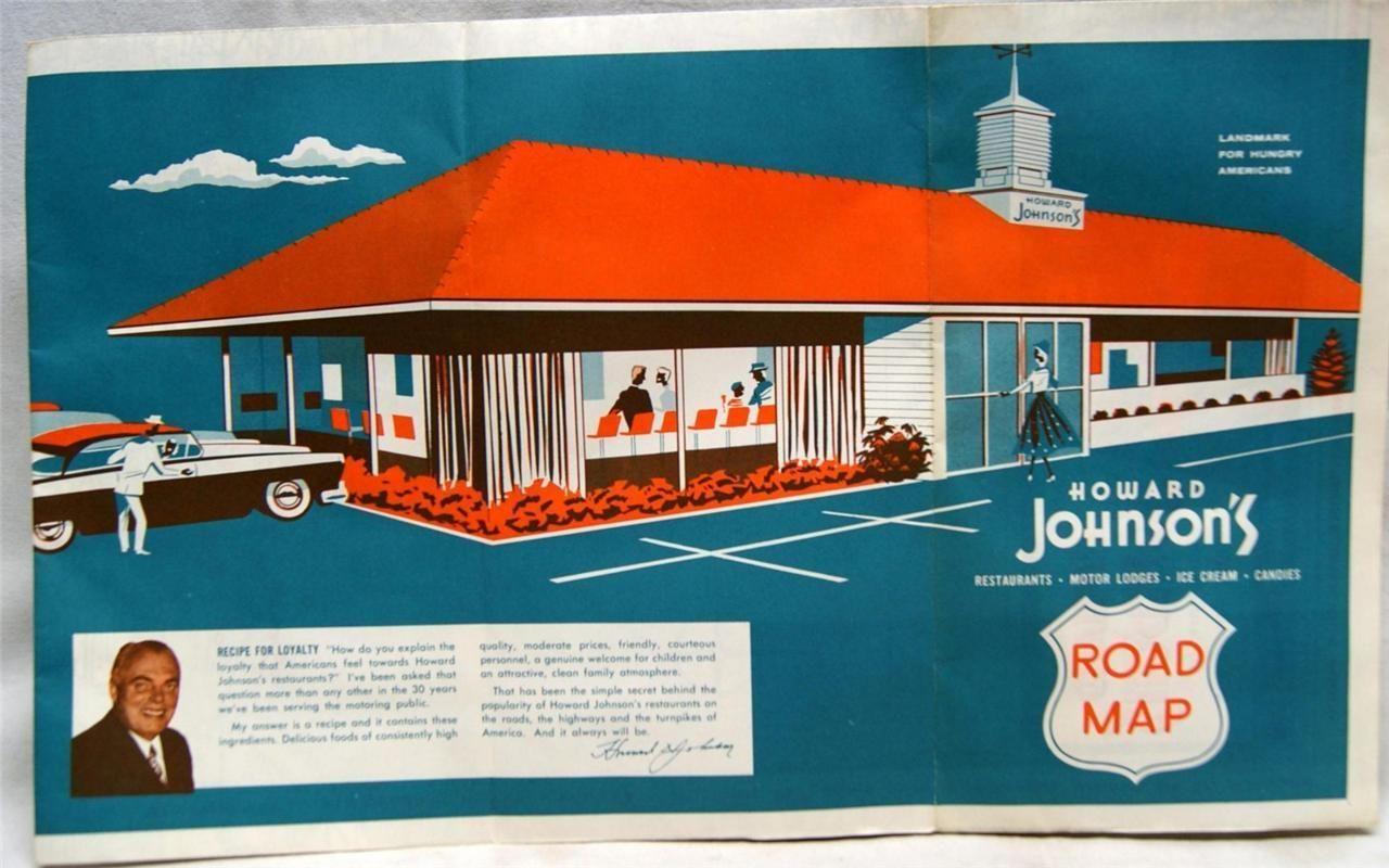 Howard Johnsons Restaurant Advertising Location Road Map Vintage
