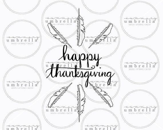 Happy Thanksgiving Vector Feather Clipart Handwritten