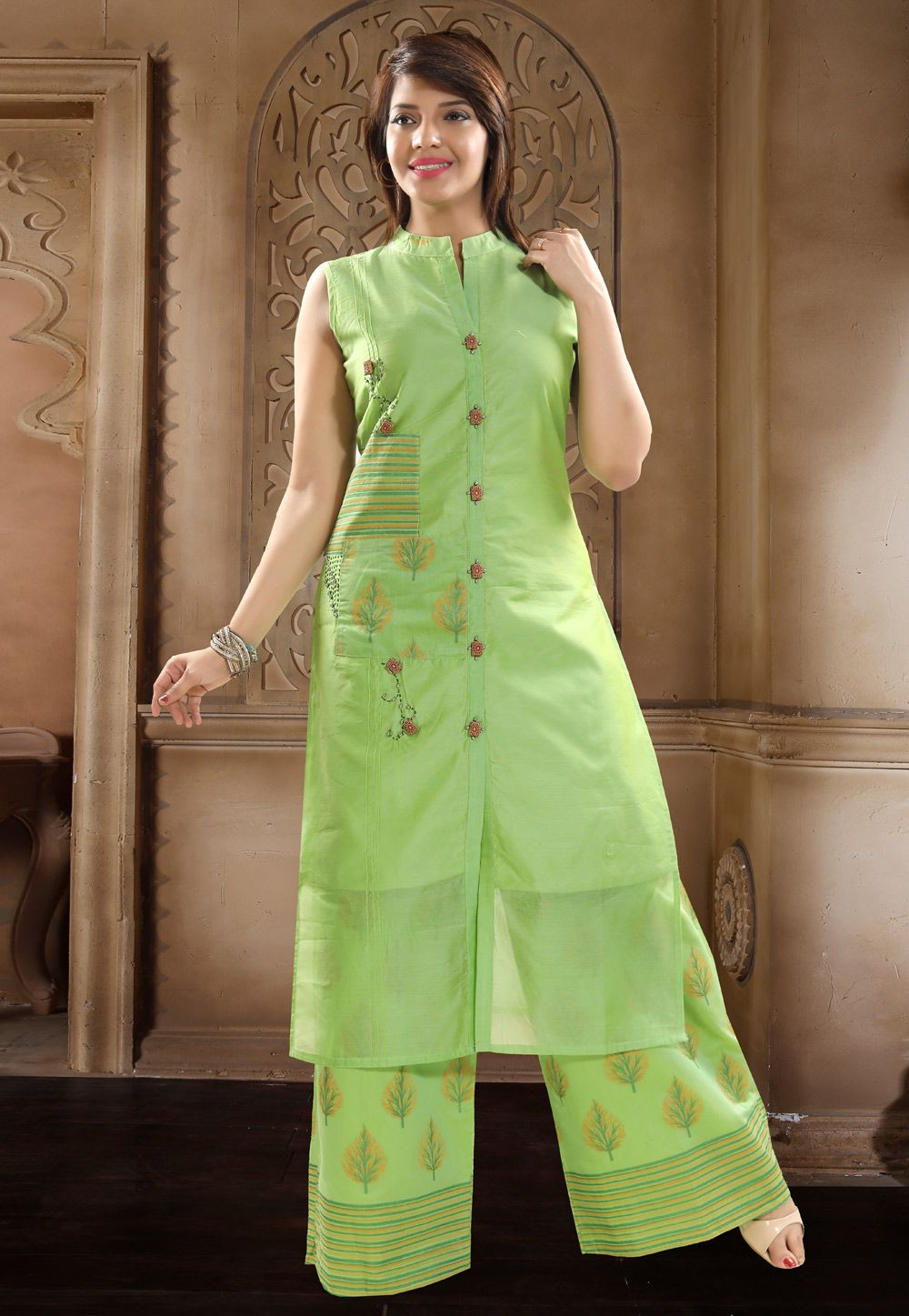 1a3cdce9e75 Buy Green Chanderi Silk Readymade Pakistani Style Suit 156205 online at lowest  price from huge collection of salwar kameez at Indianclothstore.com.