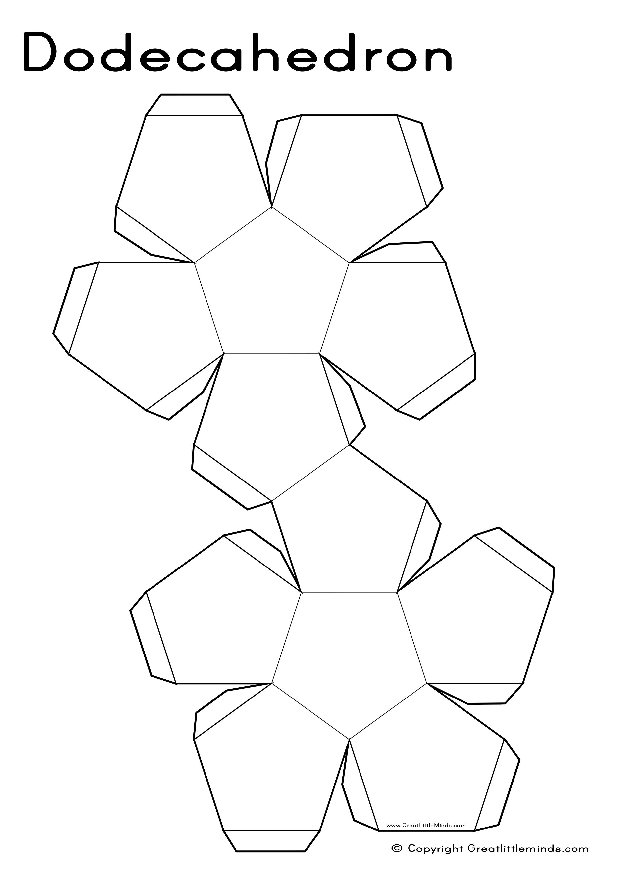 3d nets dodecahedron 2480 3508 unschooling for Geometry net templates