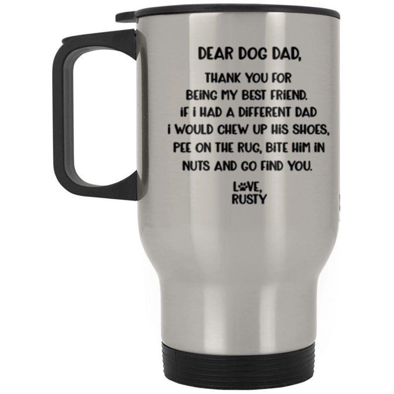 Dog dad travel mug personalized dog dad gift from dog