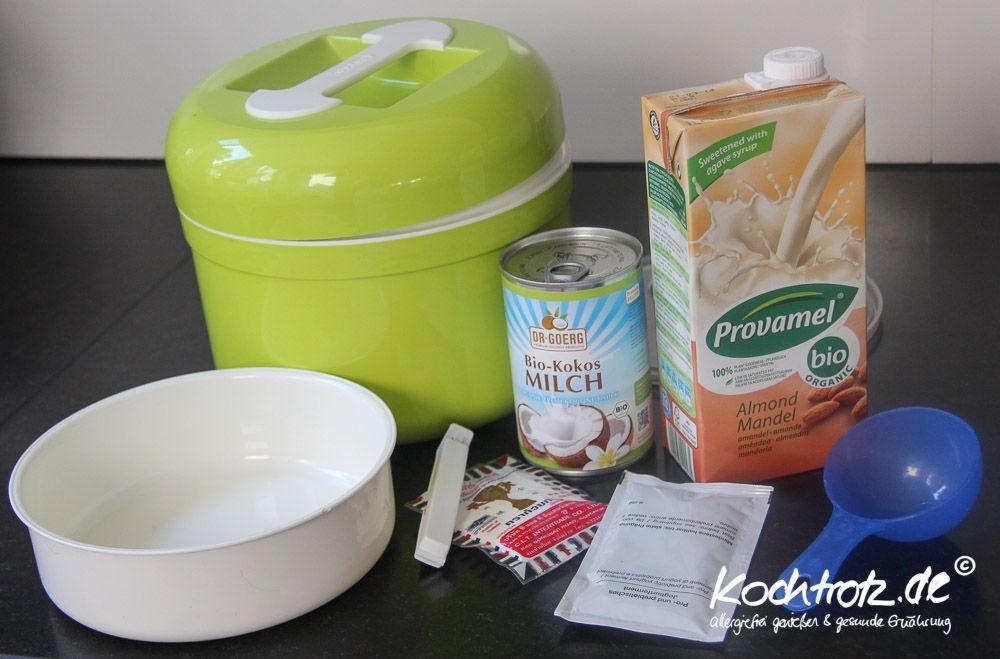Veganer Joghurt Aus Kokosmilch Und Mandelmilch Alternative Zu Sojajoghurt Rezept In 2020 Veganer Joghurt Mandelmilch Und Joghurt