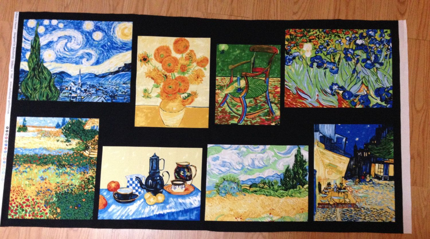 Quiltsy Destash Party - Fabric Panel Tribute to Vincent van Gogh, Impressionalism, Very Rare by LawsonCreations on Etsy