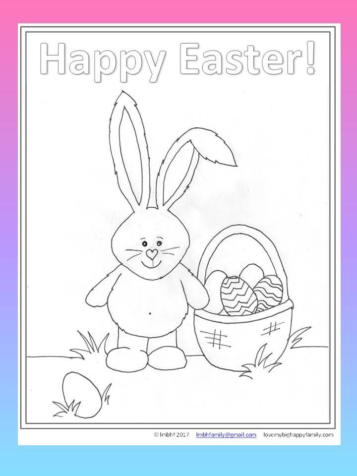 Free Downoladable Printable Easter Coloring Page For Kids Bunny And Basket Full