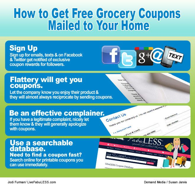 How To Get Free Grocery Coupons Mailed To Your Home Sapling Grocery Coupons Grocery Coupons Free Coupons