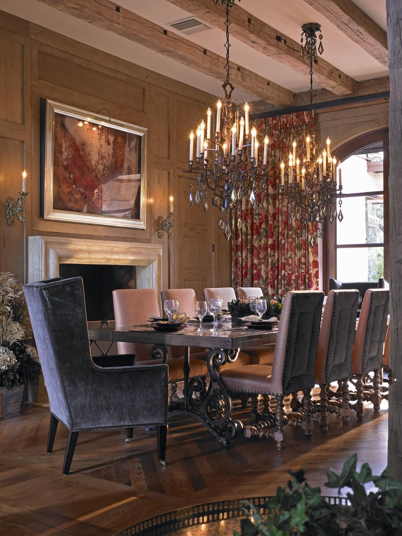 This Formal Dining Room Balances Mediterranean And Rustic Styles With Its  Beamed Ceiling And Ornately Carved