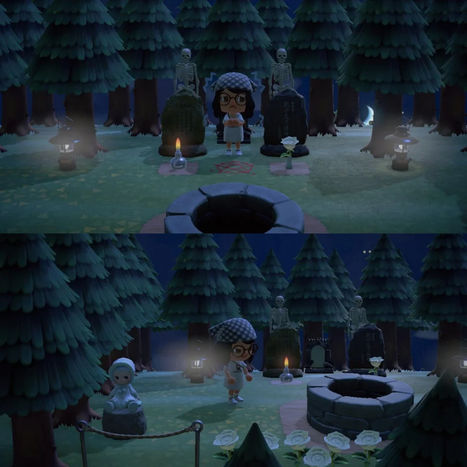 Solstria After Dark Wanted To Share My Haunted Forest With Y All Animalcrossing Animal Crossing Game Animal Crossing Qr Haunted Forest