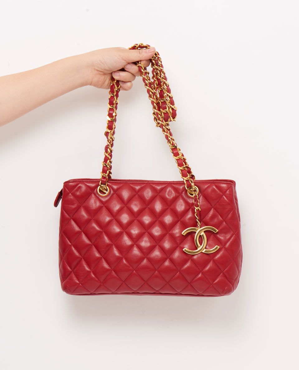 vintage chanel large red quilted shoulder bag gallery | VINTAGE ... : red quilted chanel bag - Adamdwight.com