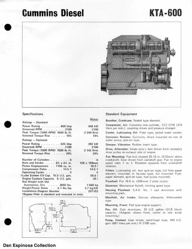 Cummins KTA 600 | Cummins engines | Big rig trucks, Truck