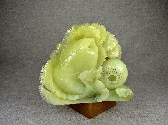 Natural Green Jade Sculpture Decor Fish Flower Lotus Art Carving ...