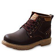 Masculino sapatos Couro Primavera Verão Outono Inverno Conforto Botas Botas Curtas / Ankle Cadarço Para Casual Preto Marrom