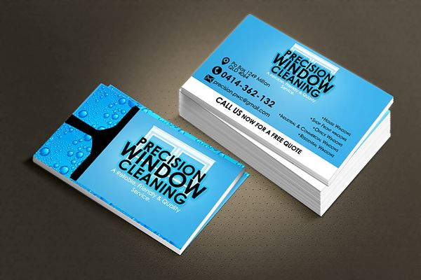 Precision Window Cleaning Business Card Design On Behance Cleaning Business Cards Window Cleaner Business Card Design