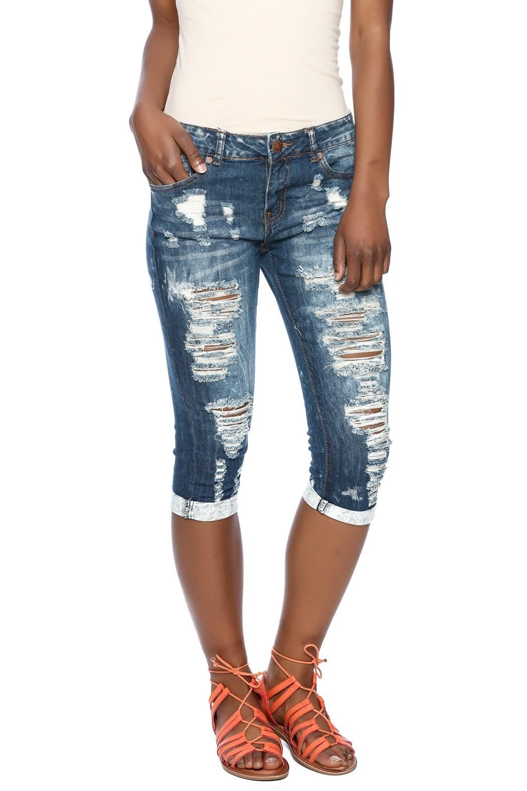 Ripped Jean Capris | Ripped jeans, Products and Cuffs