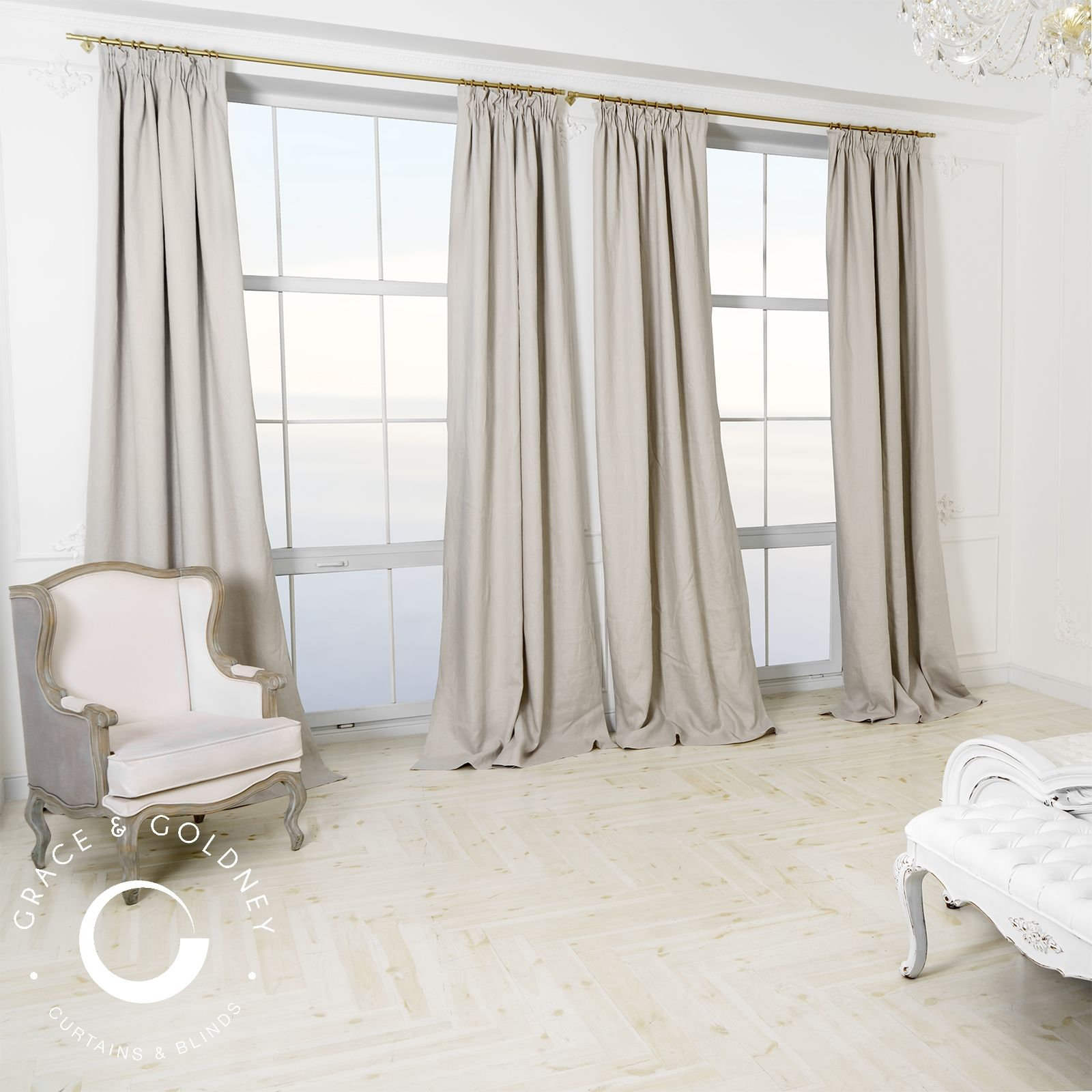 Made to measure curtains. Grey linen interlined and
