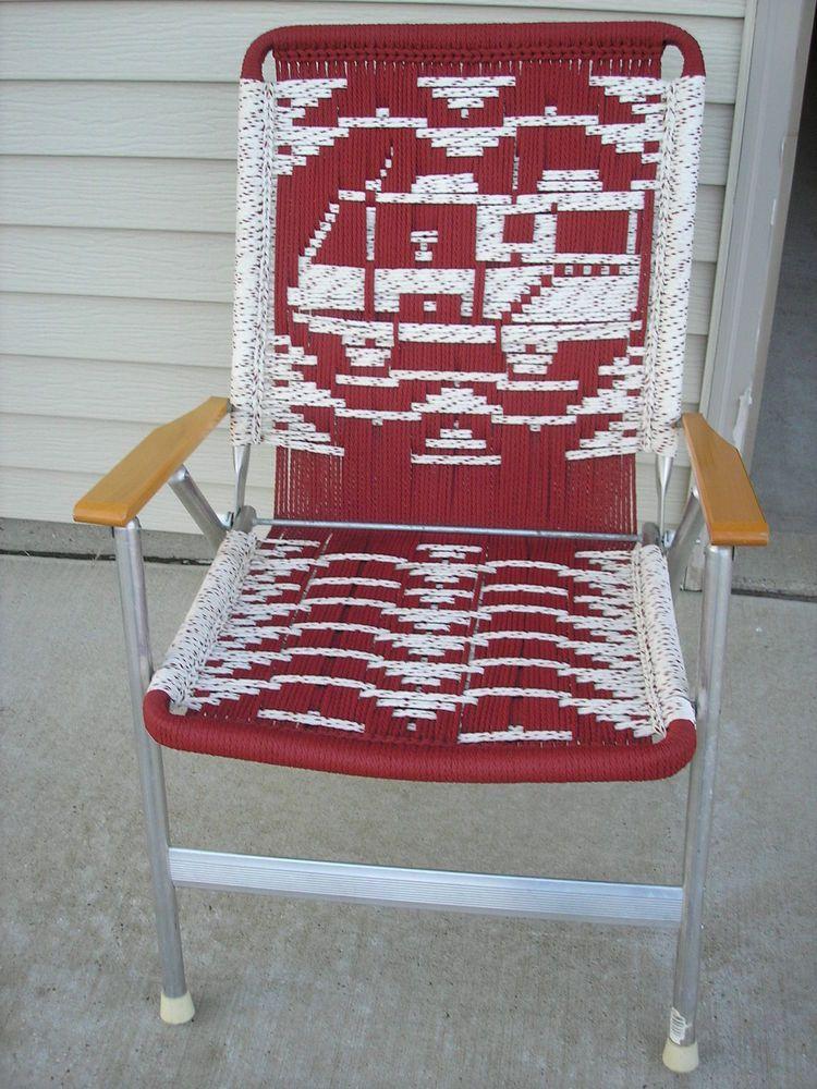 vintage; folding macrame aluminum lawn chair (1) | want