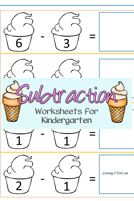 Cut And Paste Ice Cream Kindergarten Subtraction Worksheets