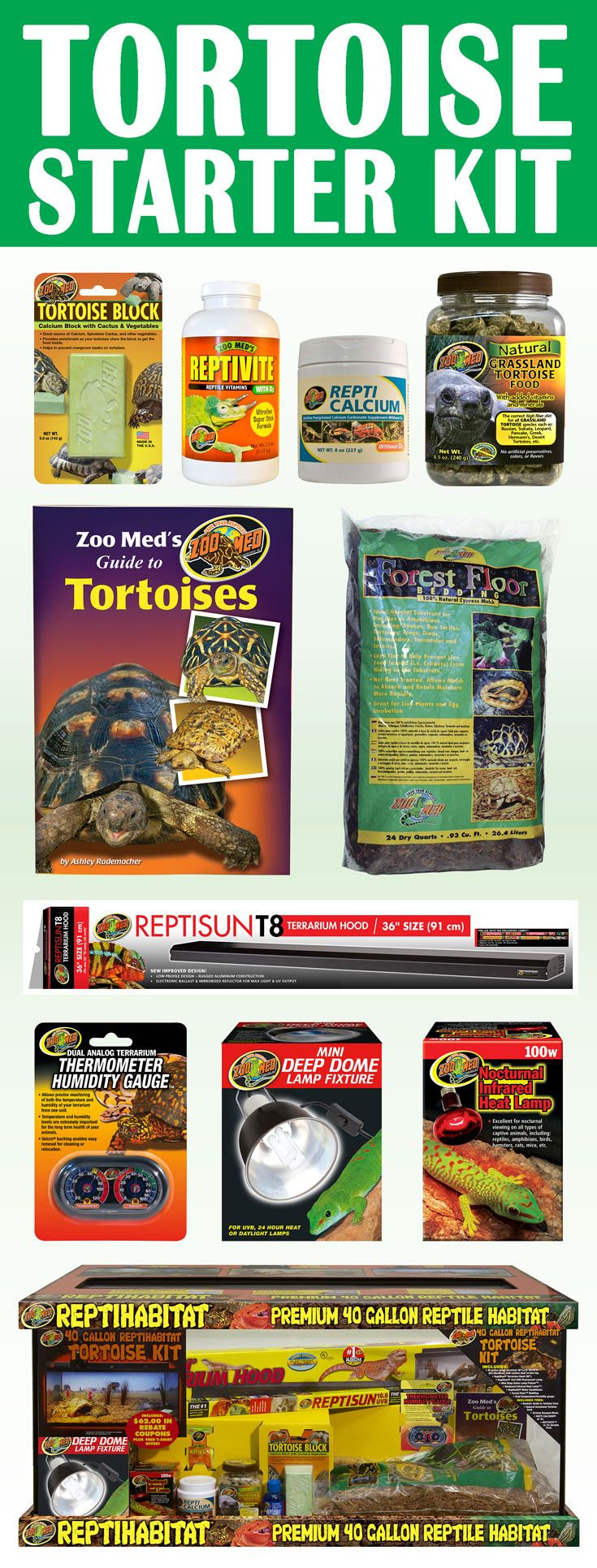 Tortoise Starter Kit Everything You Need To Set Up A Tortoise Habitat Comes W Zoo Med S Guide
