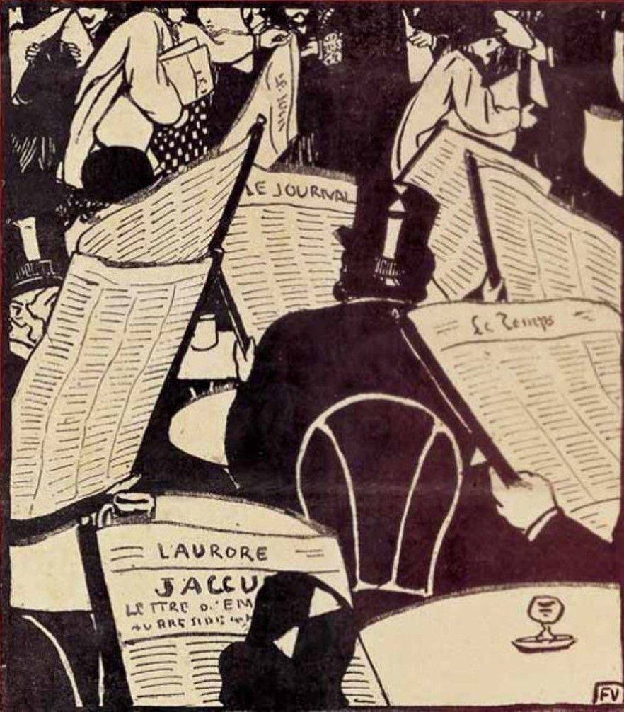 A idade do jornal, 1898 Félix Vallotton (Suíça, 1865-1945) Litogravura,  publicada no Le cri de Paris,  de 23/01/1898