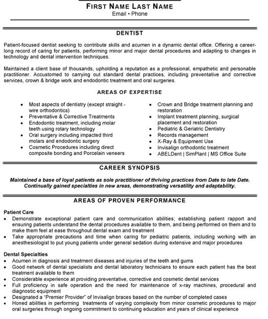 dentist resumes samples documents Pinterest - resume x ray tech
