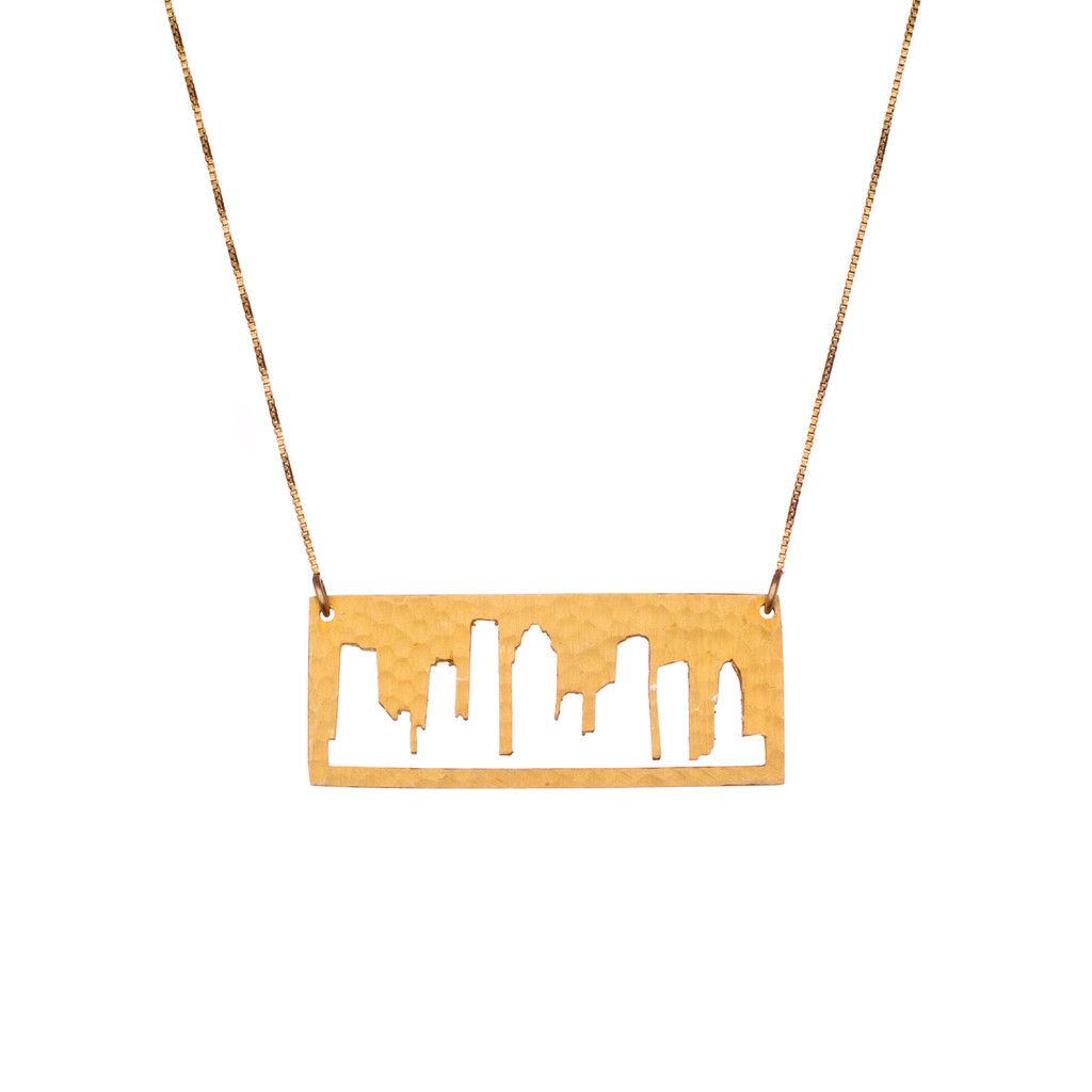 Houston Gold pendant with rustic metal cutout, 16 inch chain