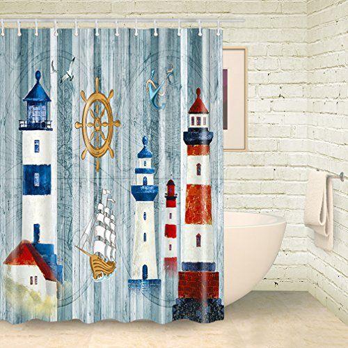 Fkog Lighthouse Bathroom Fabric Shower Curtain Sets Vintage Map