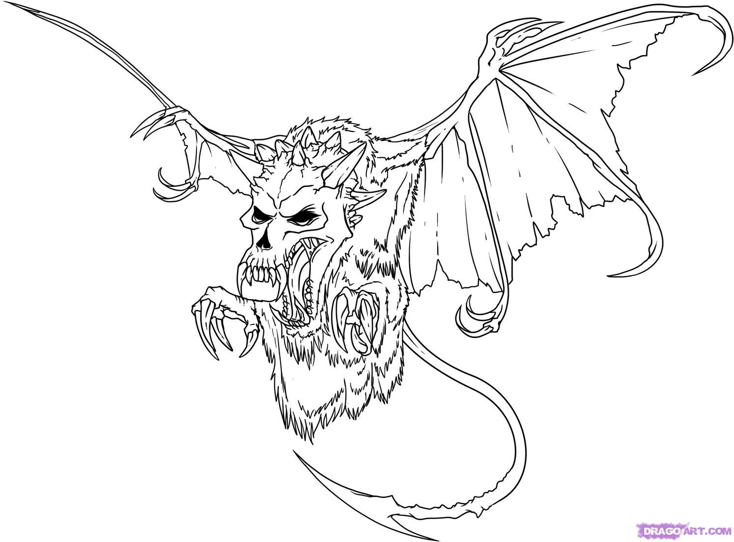 How To Draw An Evil Skull Step By Step Skulls Pop Culture Free Online Drawing Tutorial Ad Dragon Coloring Page Monster Coloring Pages Scary Coloring Pages