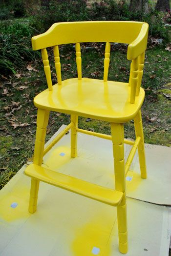 updating an old wooden highchair pinterest spray painting
