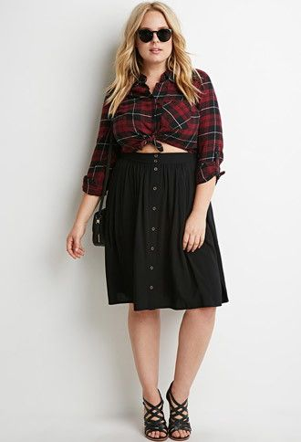f0174dcd3f Buttoned A-Line Skirt   Forever 21 PLUS - 2000158005   FATshionistas ...