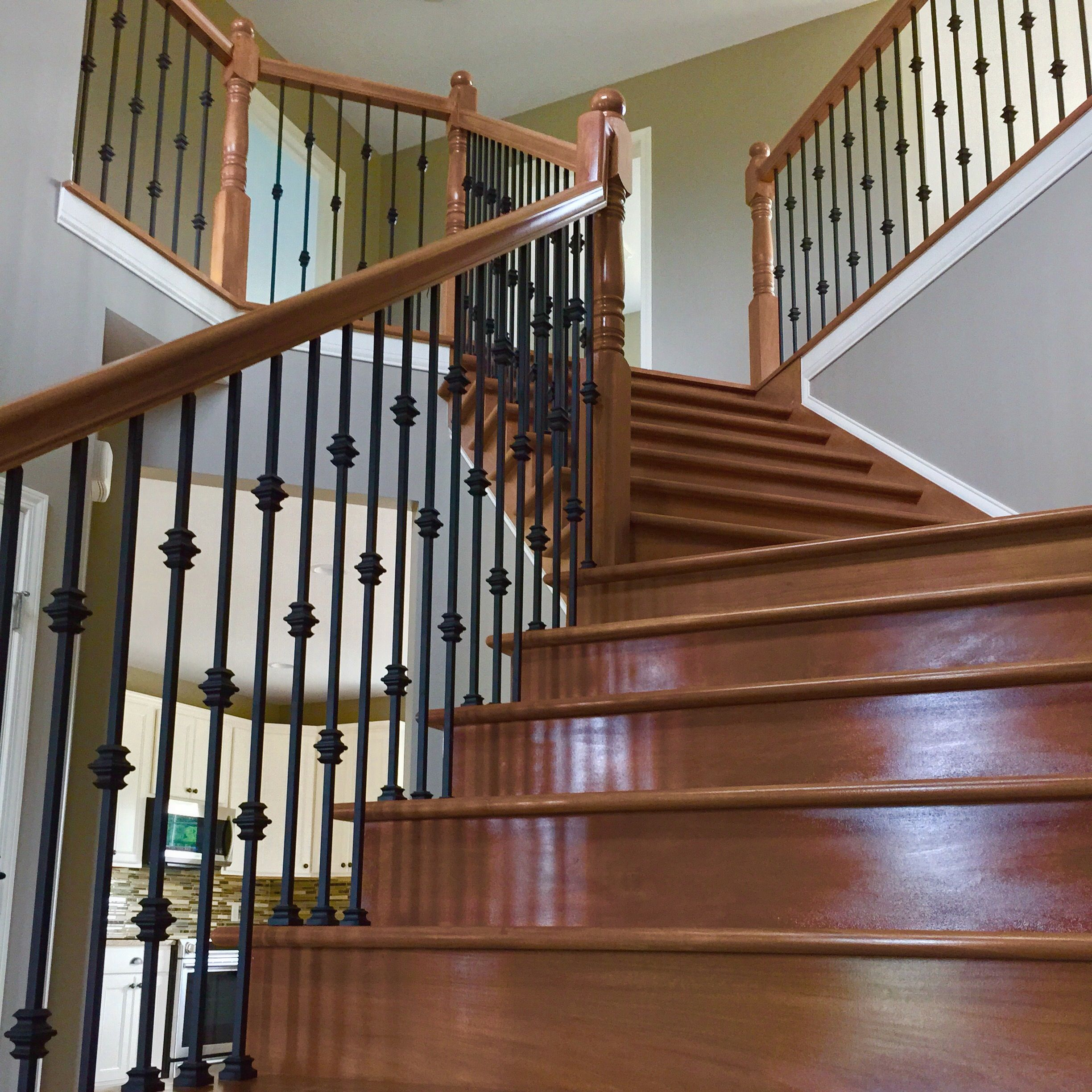Best Custom Hardwood Staircase With Iron Rods Staircase 400 x 300