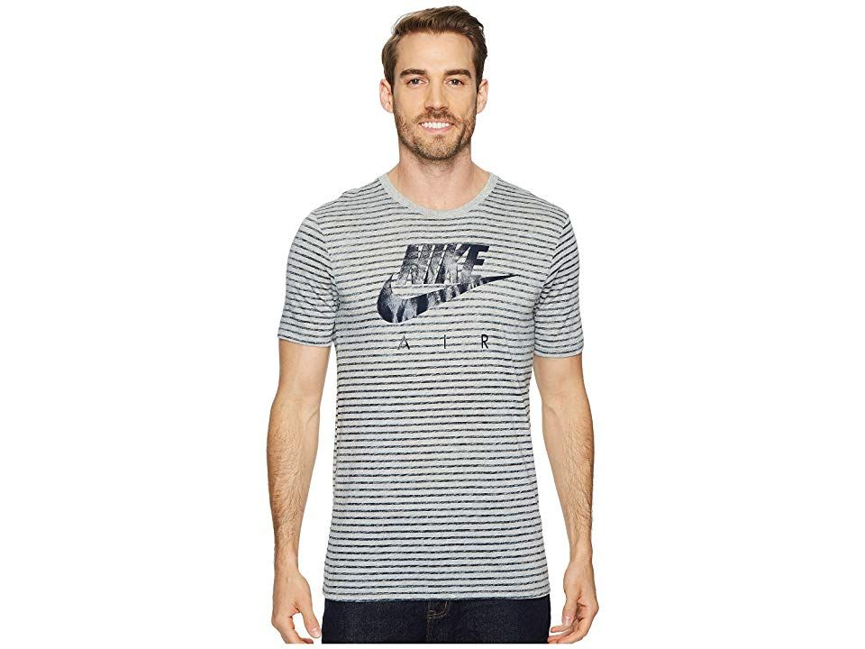 bfd9f9bcad1d Nike Sportswear Striped T-Shirt (Dark Grey Heather Obsidian) Men s  Clothing. Leave the gym behind but keep your sporty edge with the fresh  Sportswear ...