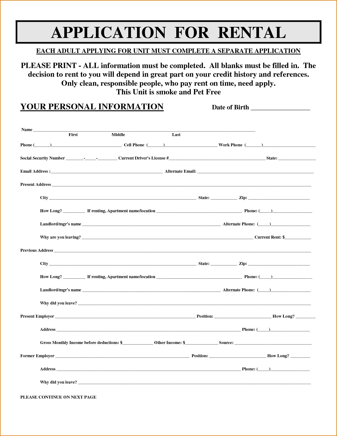 New Simple Rental Application form xls xlsformat