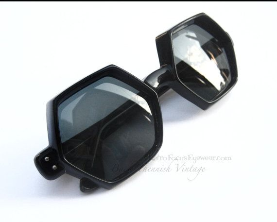 8a8339aa5 One of a kind vintage 1960's French oversized 6 sided (hexagon) sunglasses  with dark grey (non Rx) glass lenses. Preowned, in excellent condition, ...
