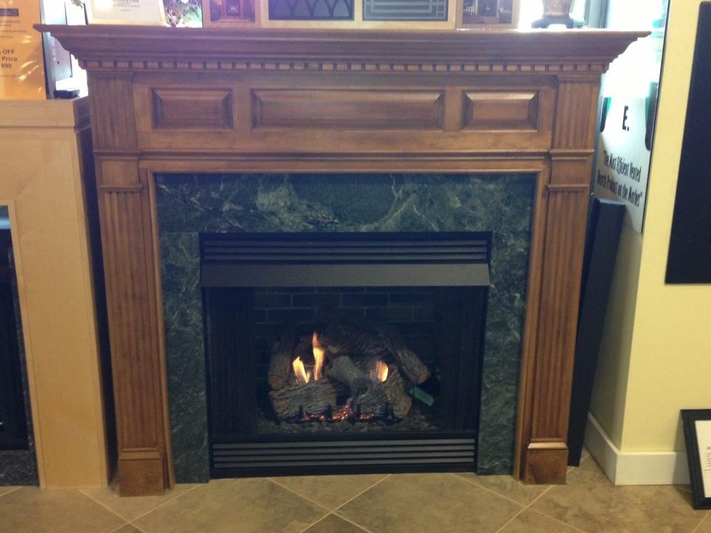 American Hearth Vent Free Gas Fireplace with Custom Hamilton Maple ...