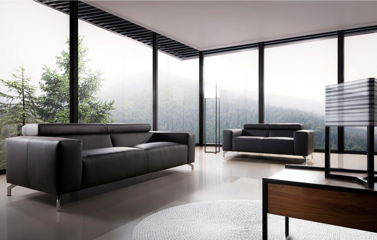 2,5-Sitzer Sofa Schwarz | Schwarzes sofa, Sofa, Modernes ...