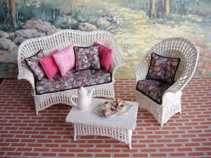 Dollhouse Miniature Wicker Furniture Dollhouse Miniature