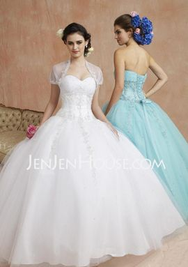 A-Line/Princess Sweetheart Floor-Length Satin Tulle Quinceanera Dresses With Ruffle Lace Beading (021004679) - JenJenHouse.com