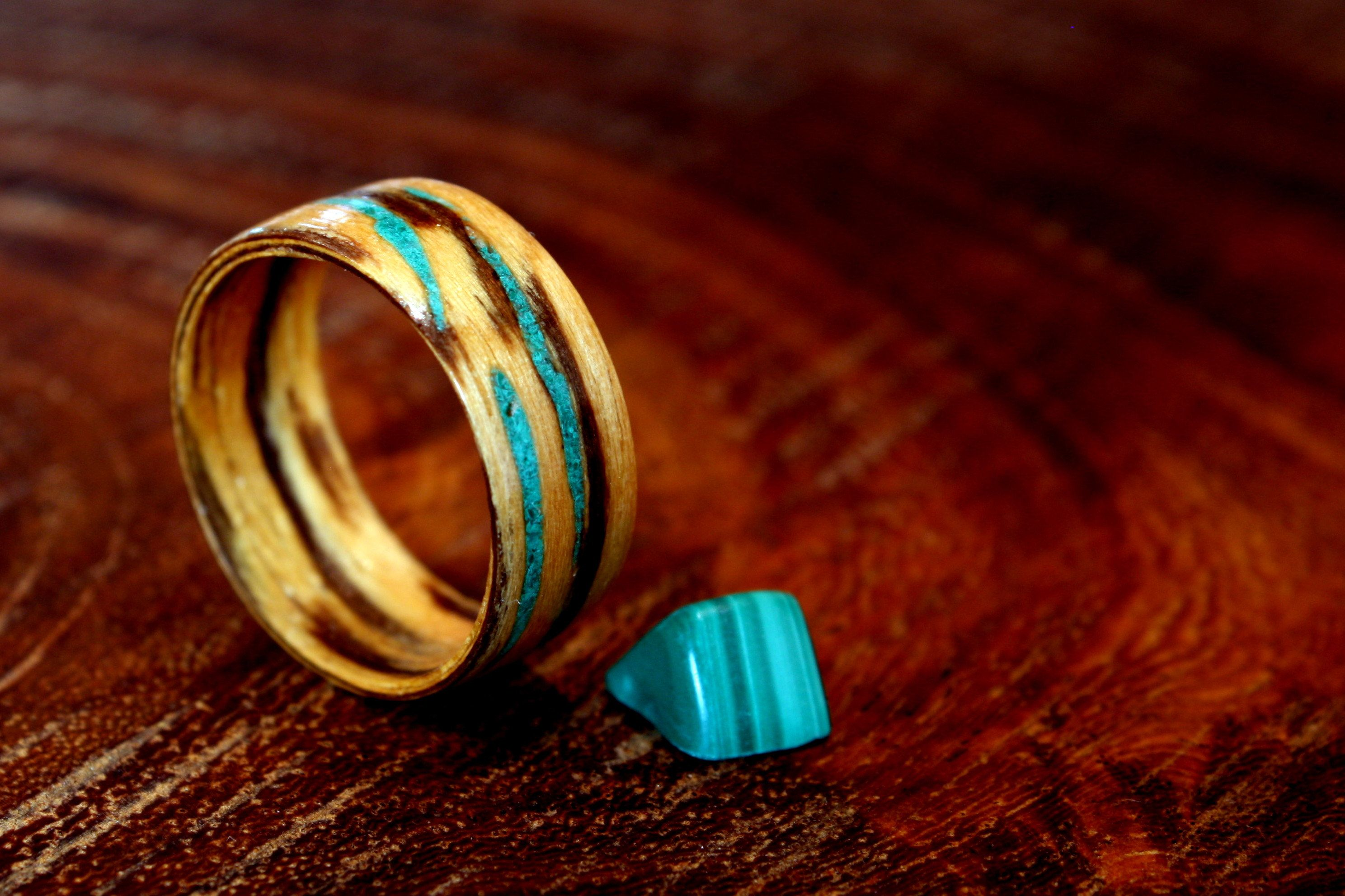 zebra malachite ring and pin inlay wood stone rings with wedding woods abalone