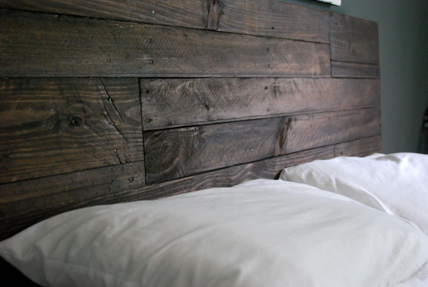 Industrial and elegant reclaimed wood headboard by for Recycled headboards